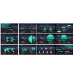 green and black elements presentation templates vector image