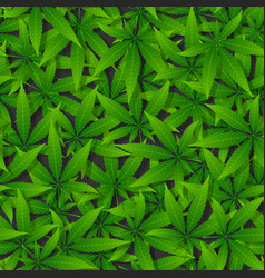 Green cannabis leaf seamless pattern vector