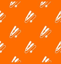 Hair straightener pattern orange vector
