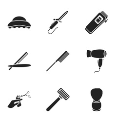 Hairdresser set icons in black style Big vector