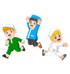 Happy moslem kids vector