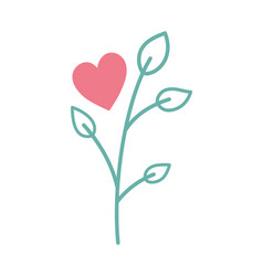 happy valentines day heart branch leaves vector image