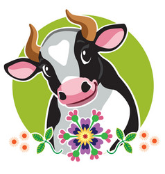 Head cartoon cow vector
