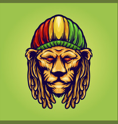 Head lion with jamaican hat logo vector