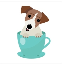 Jack Russell Terrier in blue teacup vector