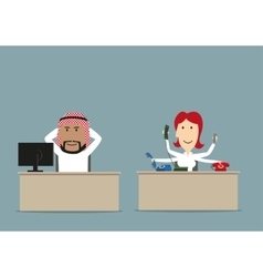 Lazy chief and busy secretary in office vector