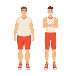 Man sportive and fat person vector