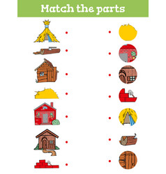 Match part educational game for children vector