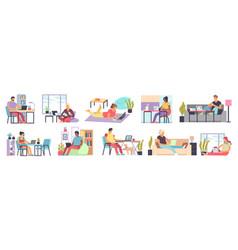 men and women working home distance work vector image