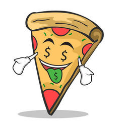 Money mouth face pizza character cartoon vector
