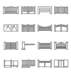 monochrome gates and fences icon set vector image