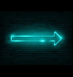 neon arrow blue neon sign with a brick wall vector image