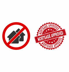 No houses icon with grunge mortgage approved seal vector