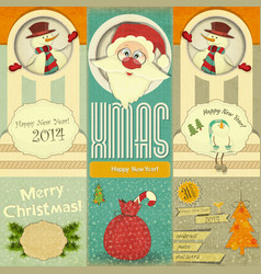 Old christmas and new year postcard with santa vector