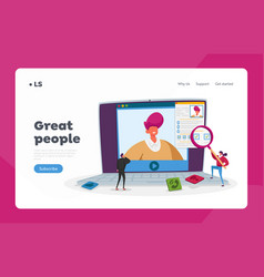 Online interview and work employment landing page vector
