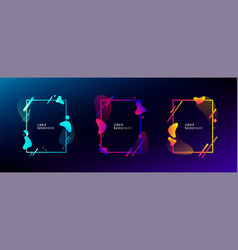 organic fluid shape frame set color abstract vector image