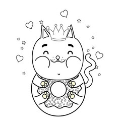 Outline kawaii funny cat donut with hearts and vector