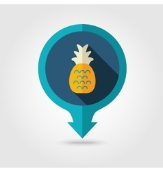 Pineapple pin map flat icon Summer Vacation vector