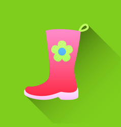 pink rubber boots icon in flat style on a white vector image