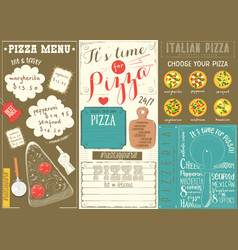 Pizza menu placemat vector