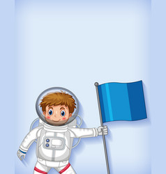 Plain background template with happy astronaut vector