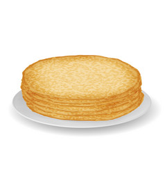 Plate with pile pancakes sweet food 3d vector