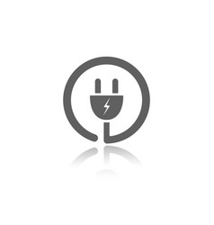 Plug icon with reflection on a white background vector
