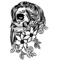 pretty day dead with flower face vector image