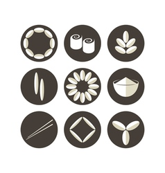 Rice icon set vector