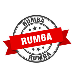 Rumba label rumbaround band sign rumba stamp vector