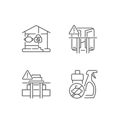 Safety precaution at home linear icons set vector