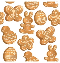 seamless pattern easter cookies vector image