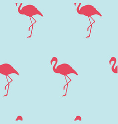 seamless pattern with pink flamingo exotic bird vector image