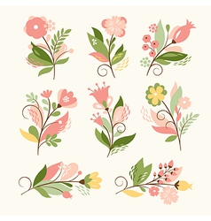 Set beauty floral bouquets vector