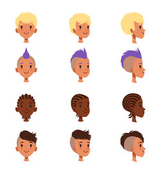 Set boys head faces with different vector