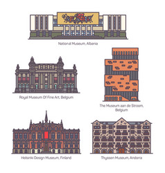 set isolated european museums in line vector image