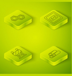 Set isometric electrical outlet road barrier vector