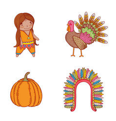 set man indigenous with turkey and pumpking vector image