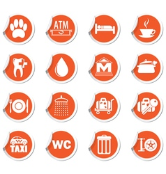 Set of 16 orange label vector