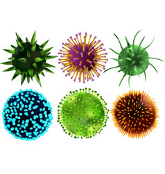 set of viruses and bacteria viruses and bacteria vector image