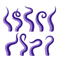 Set purple tentacles octopus vector