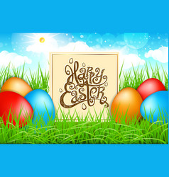 spring colorful eggs in a field of grass with vector image
