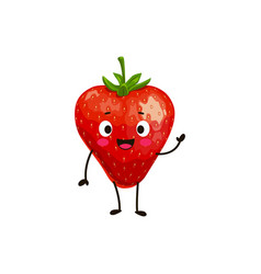 Strawberry cartoon character berry smile vector
