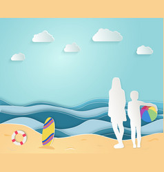 summer sea picture origami made paper mom vector image