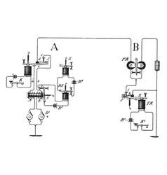 The inner workings of telegraphy vintage vector