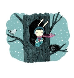 The story about a bunny tree and bird vector