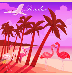 tropical paradise background summer time banner vector image