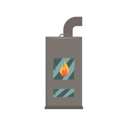 Typical interior iron wood burning stove vector