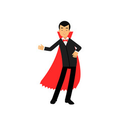 vampire character doing welcome gesture count vector image