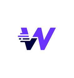 W letter dash lowercase tech digital fast quick vector